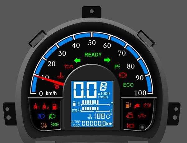 电动车仪表负显