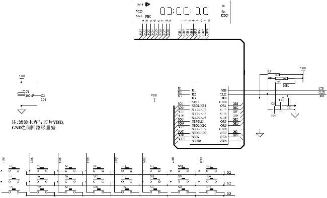 AiP1638-CS1638驱动共阴数码屏应用线路